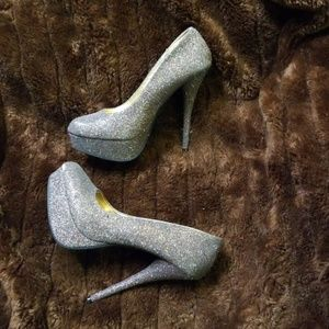 Charlotte Russe Sparkle Glitter Heels sz 8